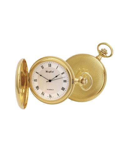Mechanical Gold Plated Patterned Pocket Watch With Chain